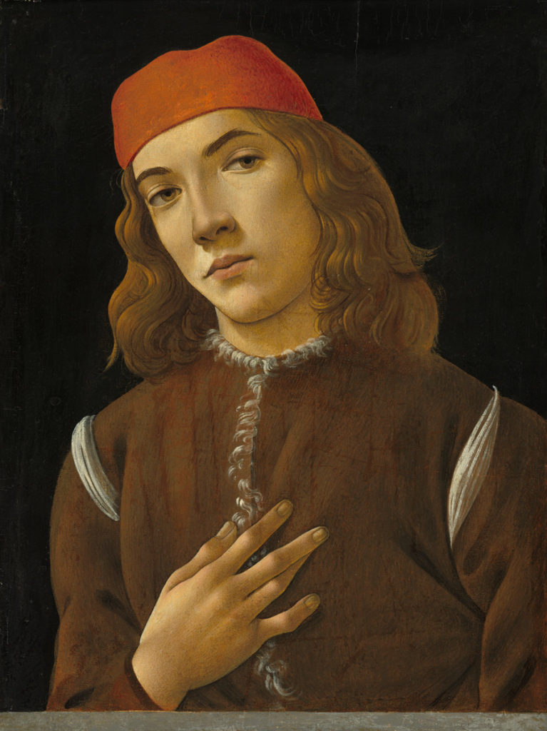 Sandro Botticelli (Florentine, 1446 - 1510 ), Portrait of a Youth, c. 1482/1485, tempera on poplar panel, Andrew W. Mellon Collection 1937.1.19